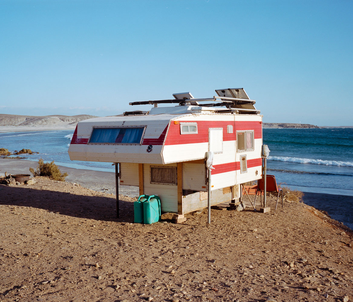 Camper parked on the beach in Baja, Mexico