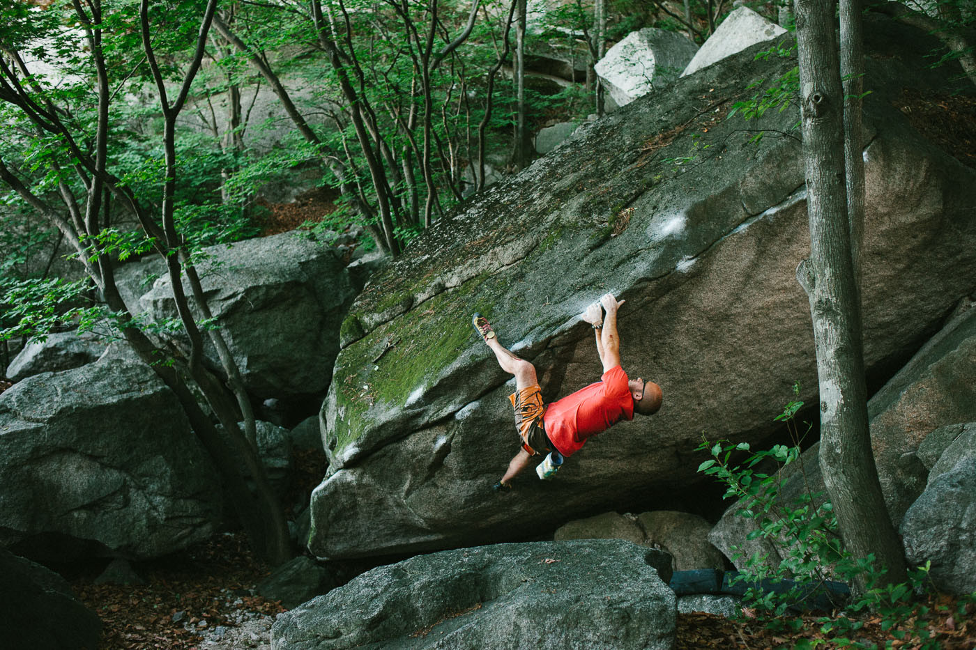 Dave McAllister climbs Soju Warrior at Insubong near Seoul, South Korea