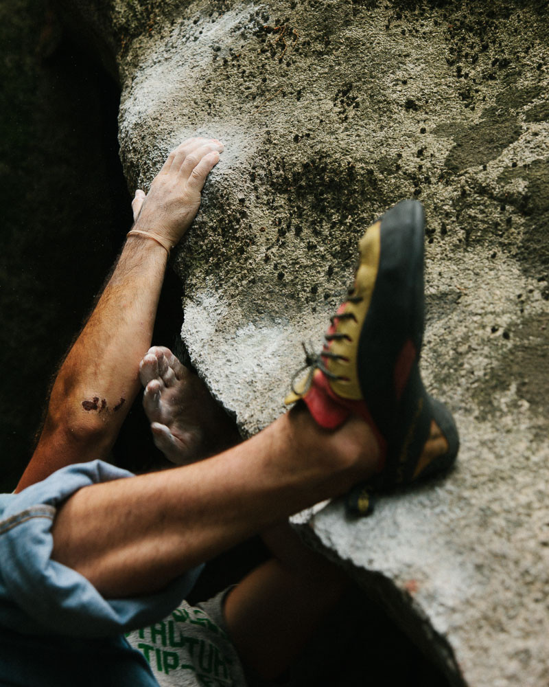 Dave McAllister climbs Innovation Strategy (V5) at the Service Area in Bukansan National Park, South Korea