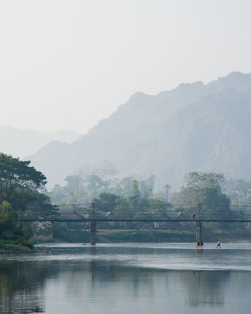 Bridge and Namsong river in Vang Vieng, Laos