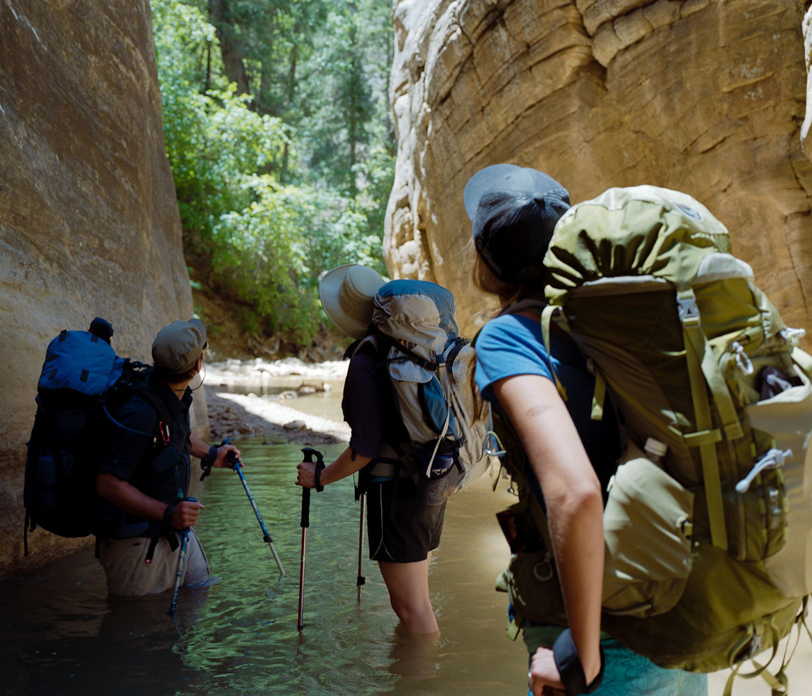 Hikers in the Zion Narrows, Utah