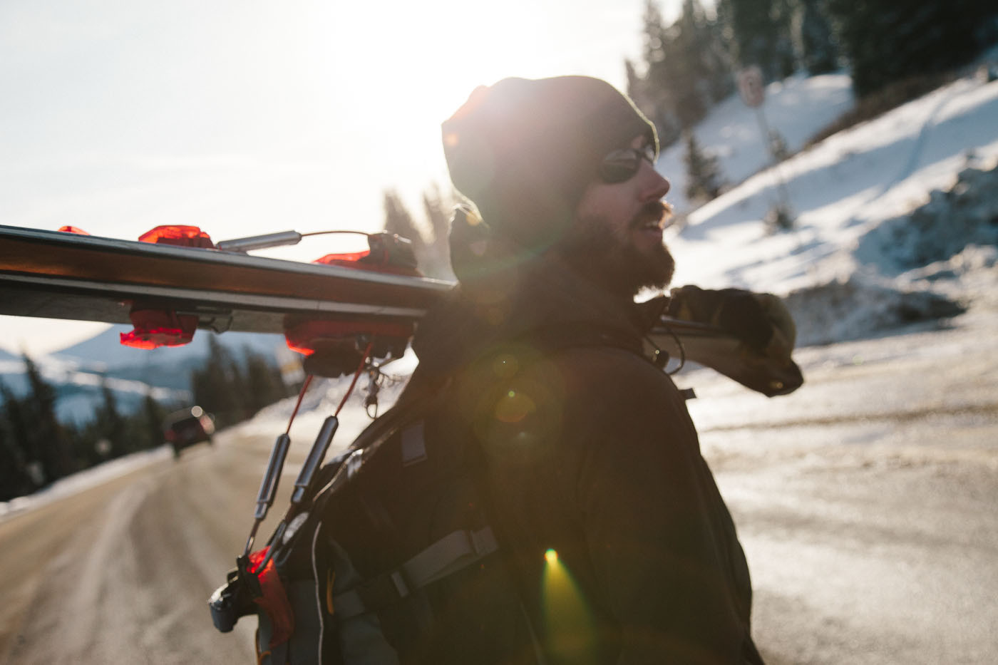 Aaron Prochaska hiking to ski at Berthoud Pass, Colorado