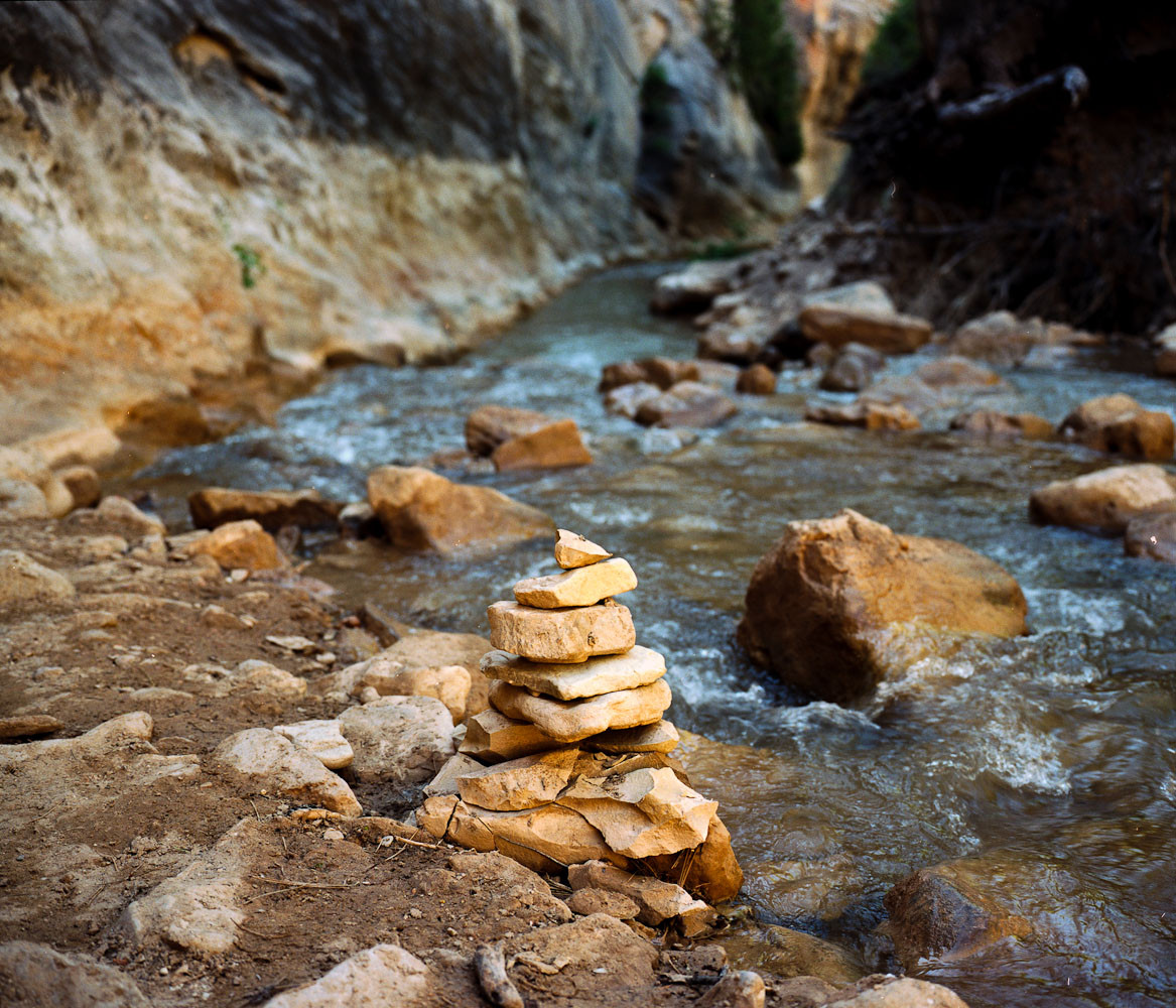 Cairn in the Narrows, Zion National Park, Utah