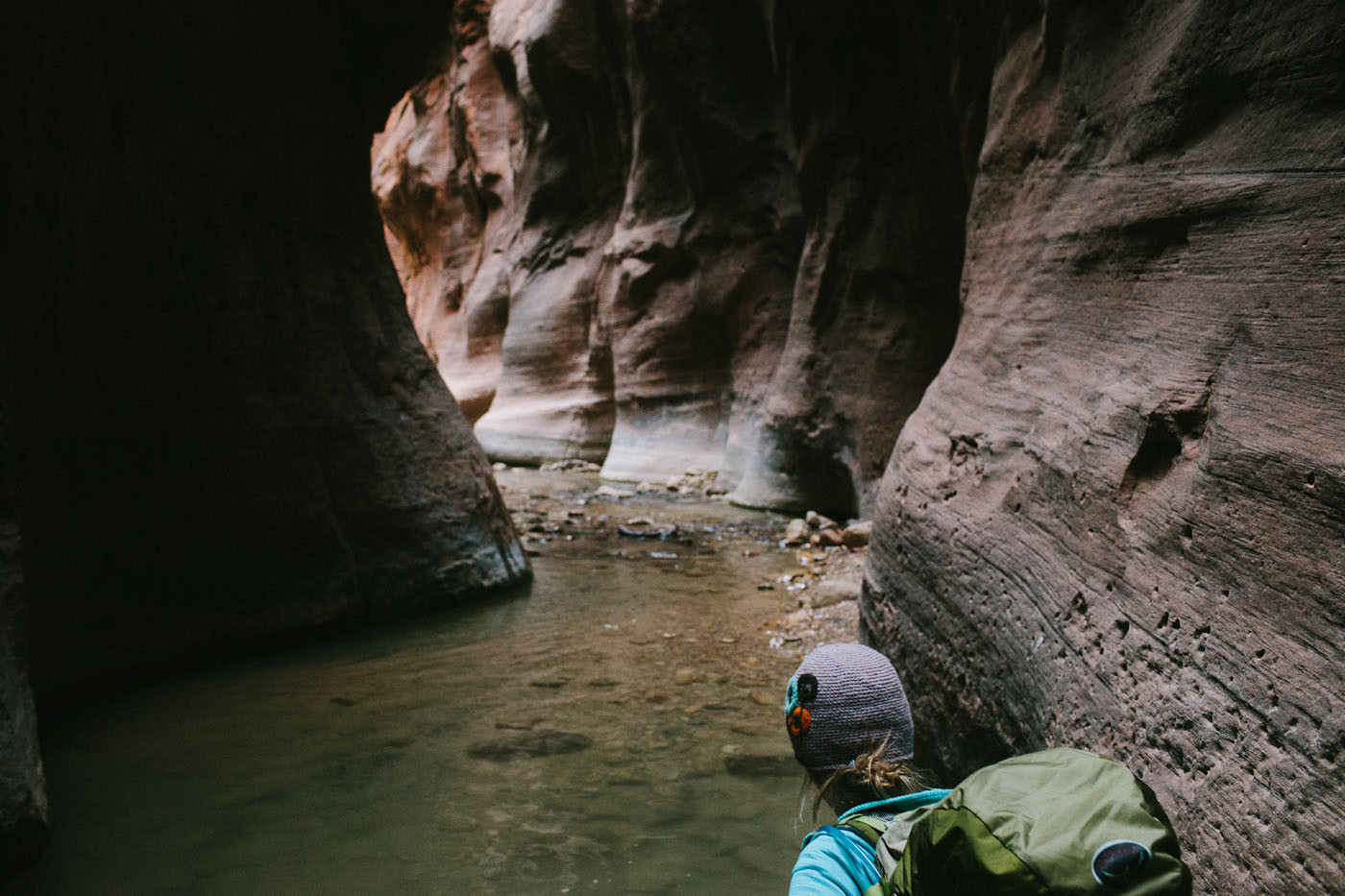 Emily Ayres hiking in the Zion Narrows, Zion National Park, Utah