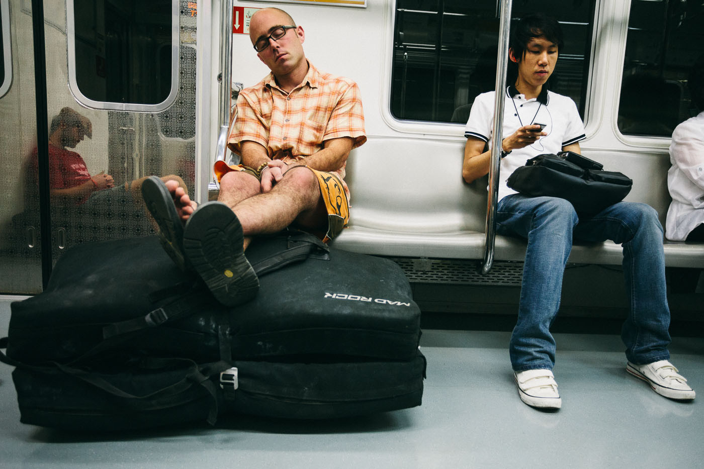 Dave McAllister rides the subway in Seoul, South Korea