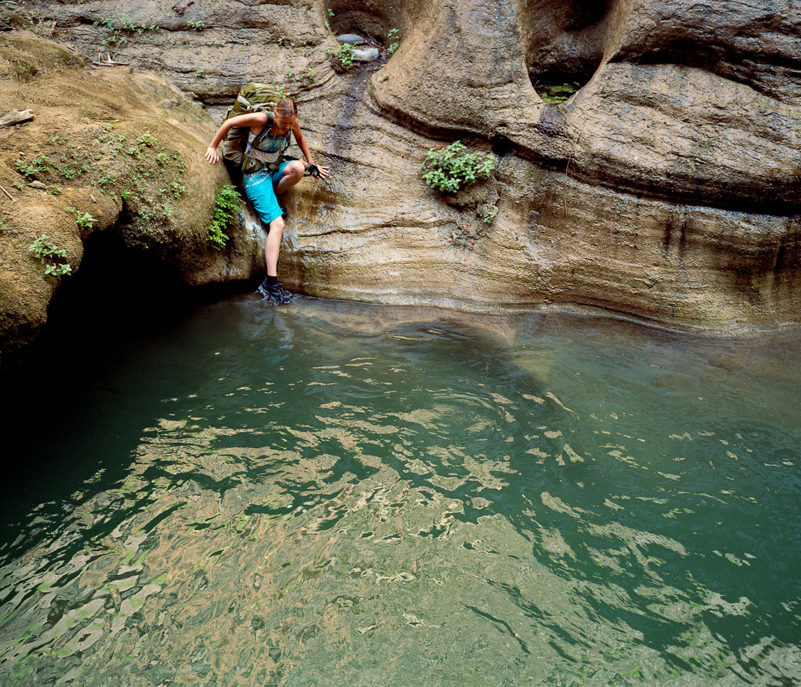 Emily Ayres about to swim in the Narrows, Zion National Park, Utah